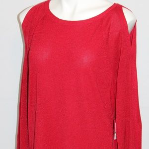 Vince Camuto Cold Shoulder Cut Out Sweater L Red